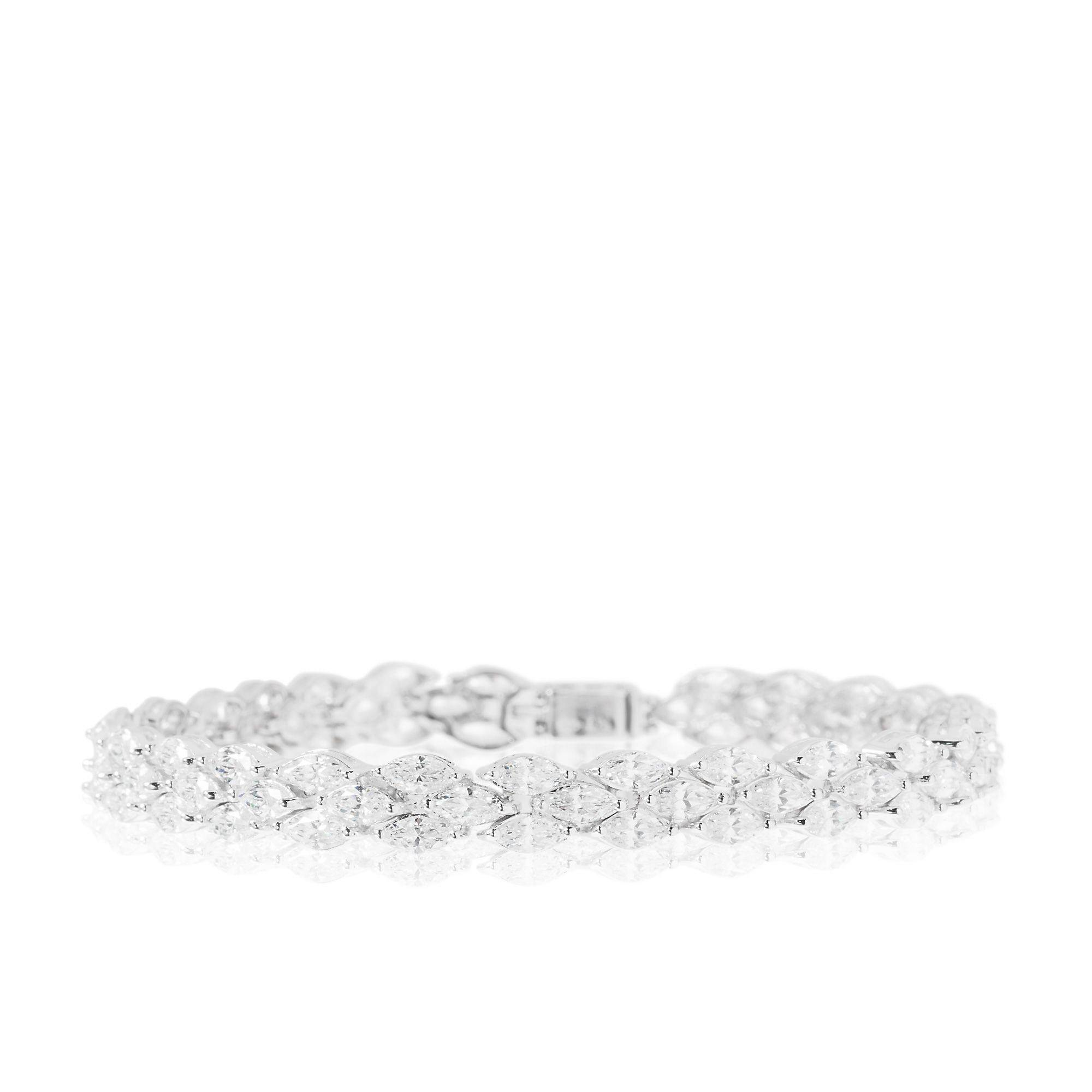 Diamonique Bracciale pari a 11.7ct in argento 925 placcato rodio