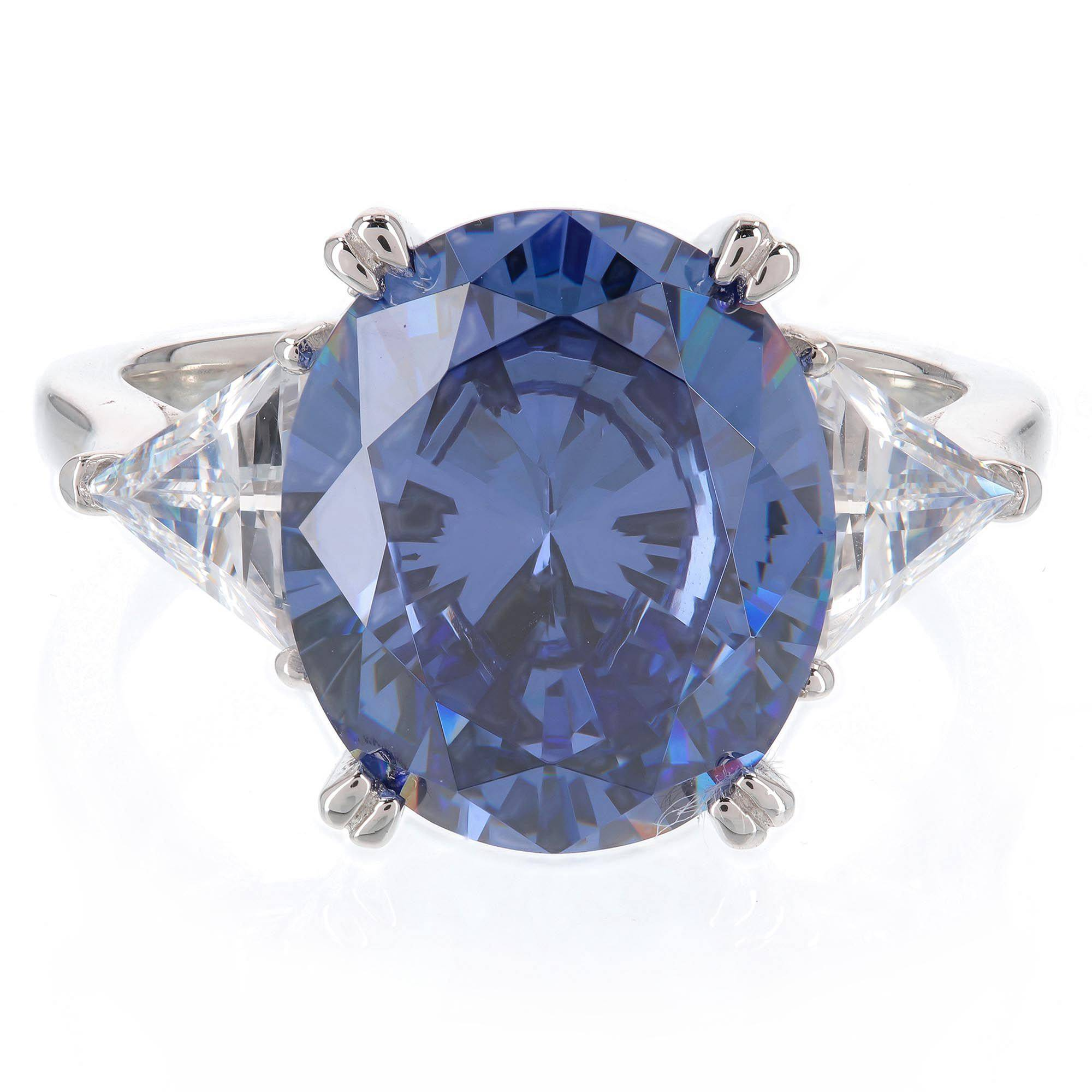 Diamonique Anello con simulante tanzanite pari a 7.5ct
