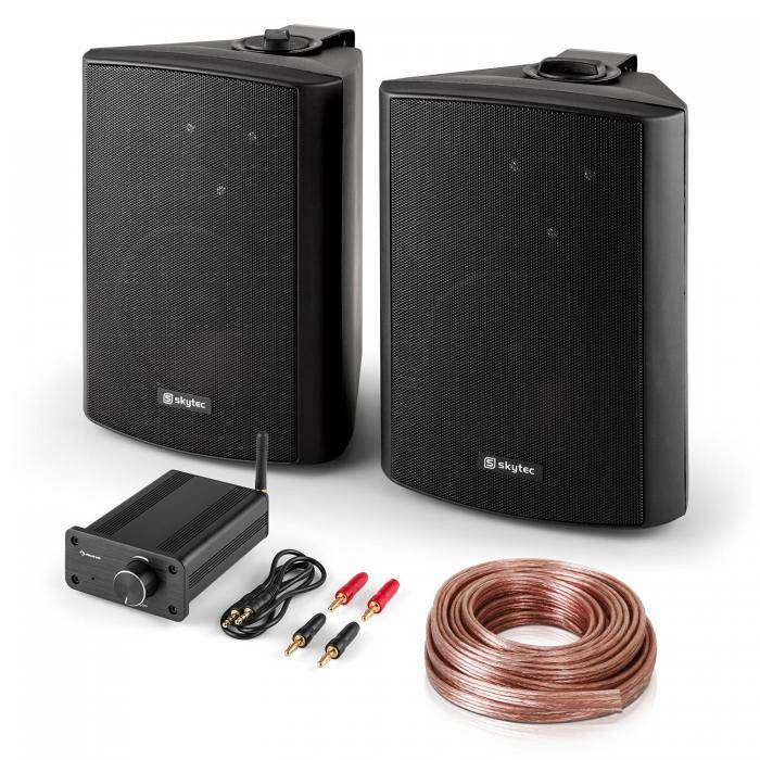 Skytec PA HiFi Set Bluetooth Play BK Coppia Altoparlanti Mini Amplificatore Bluetooth Cavo
