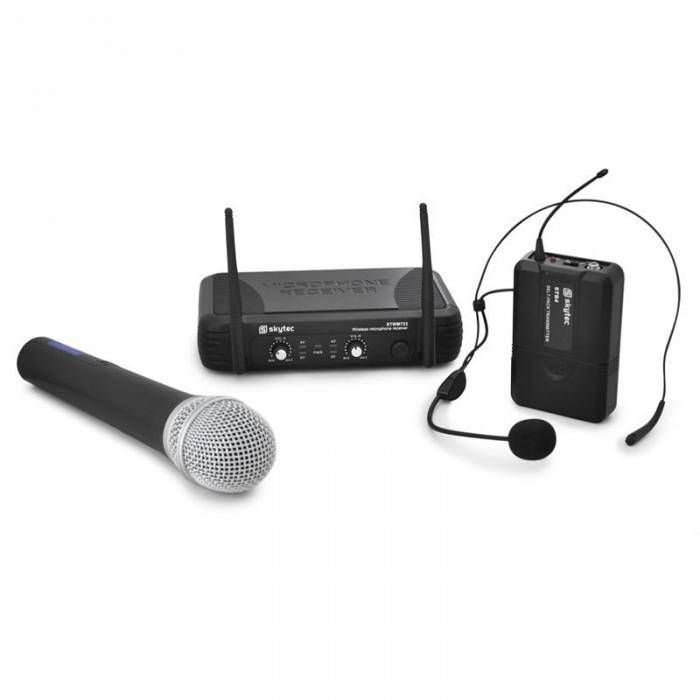 Skytec Set microfono wireless UHF, cuffie wireless Skytec STWM72