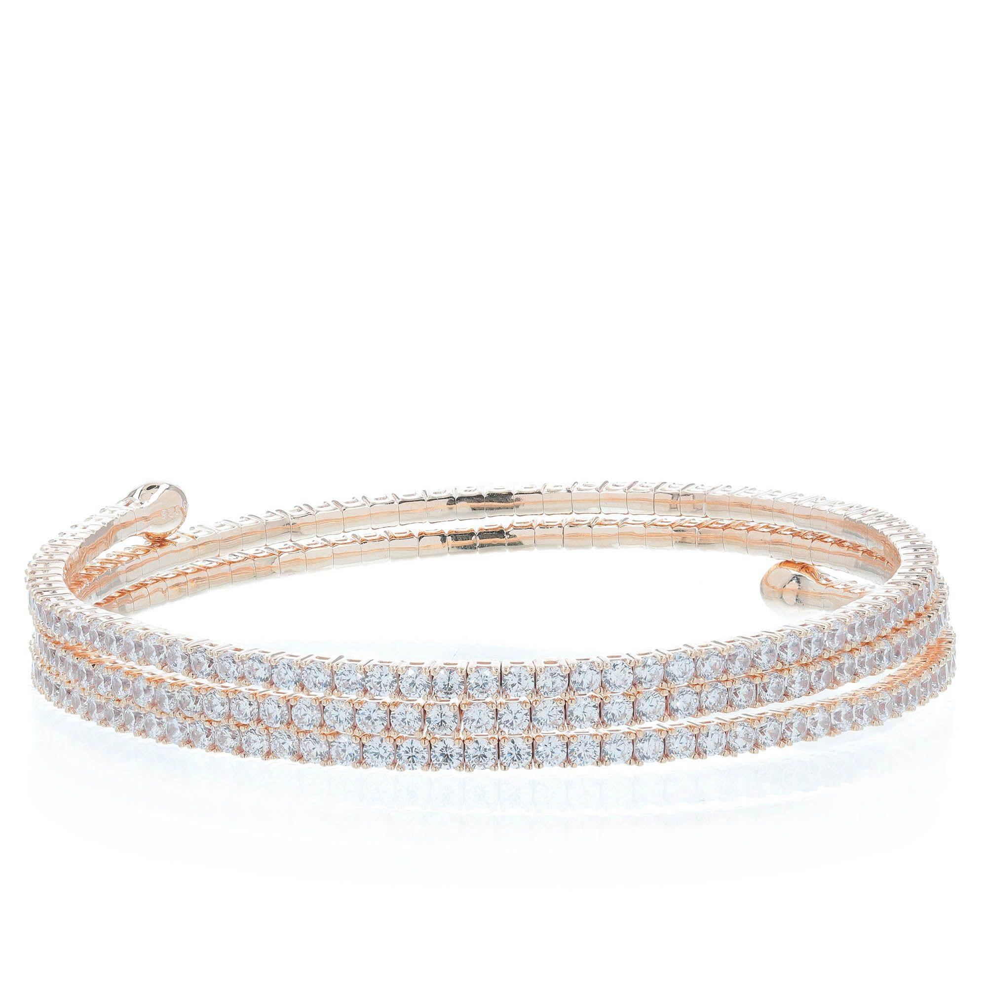 Diamonique Bracciale semirigido pari a 7.08ct in argento